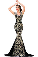 Sexy Women Fashion Maxi Dress Elegant Flower Paillette Detail Debutante Sweetheart Neck Chic Shoulder Mermaid Party Gown 61081
