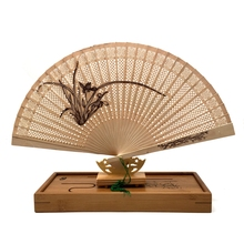 Free Shipping 1pcs/Lot The High-end Gift Fan Fan Sandalwood Incense with Imitation Yacca Hollow Printing with Fan Box
