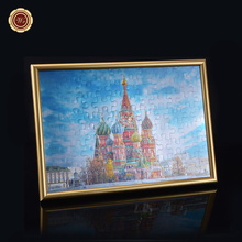 Colorful Gold Foil Paper Jisaw Puzzles Decoration Crafts with Gold Frame Beautiful Castle Design Fascinating Painting Home Decor