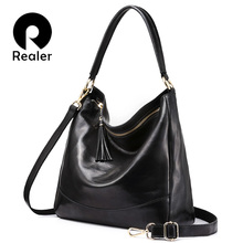 REALER brand women leather handbags female genuine leather shoulder bag large hobos tote bag with tassel Black/Brown/Red/Green