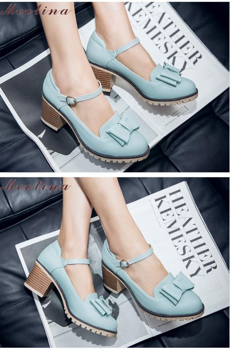 HTB1obUjRFXXXXbXXFXXq6xXFXXXs - Meotina Women Pumps Lolita Shoes Platform High Heels Pink Shoes Bow Mary Jane Ladies Sweet Party Shoes Size 33-43 Zapatos Mujer