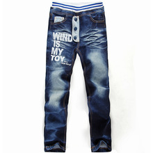 Hot Boys Casual Pants Stretch Printing Long Trousers Korean Version Boys Fashion Jeans Retail 2-7 year(China)