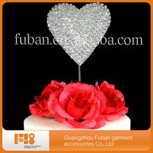 (30pcs/lot)heart wedding crystal cake topper centerpieces for wedding table Wholesale