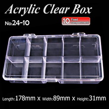 Acrylic clear Box 10 compartments for DIY Storage Organizer Nail Art Accessory Jewelry beads Crafts , portable container case