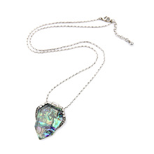 Northern Lights Long Pendant Necklace  Designer Inspired Pave Sparkling Crystal + Pop Color Abalone Asymmetry Drops