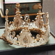 Rosebridalpark 2017 Luxury Large Wedding Pageant Gold Tiara Crown Crystal Bridal Women Pageant Crowns and Tiaras For Bride a588
