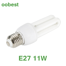 oobest 11W Stick light bulbs low energy power saving CFL screw 2U E27 lamps White light(China)