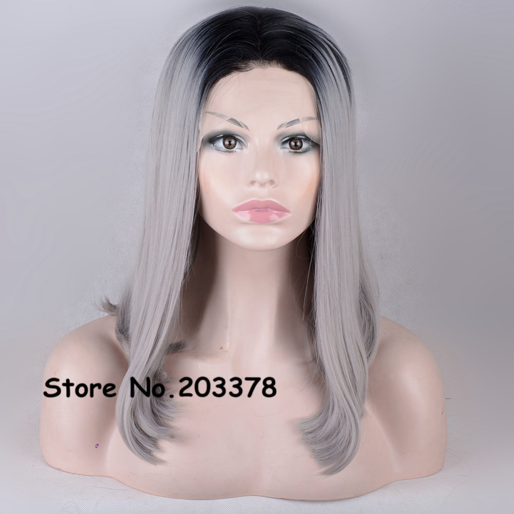 High Quliaty Femine Two Tones Japan Kanekalon Synthetic Hair Short Lace Front Grey/Gray BOB Straight  Wigs Heat Resistant Wigs<br><br>Aliexpress