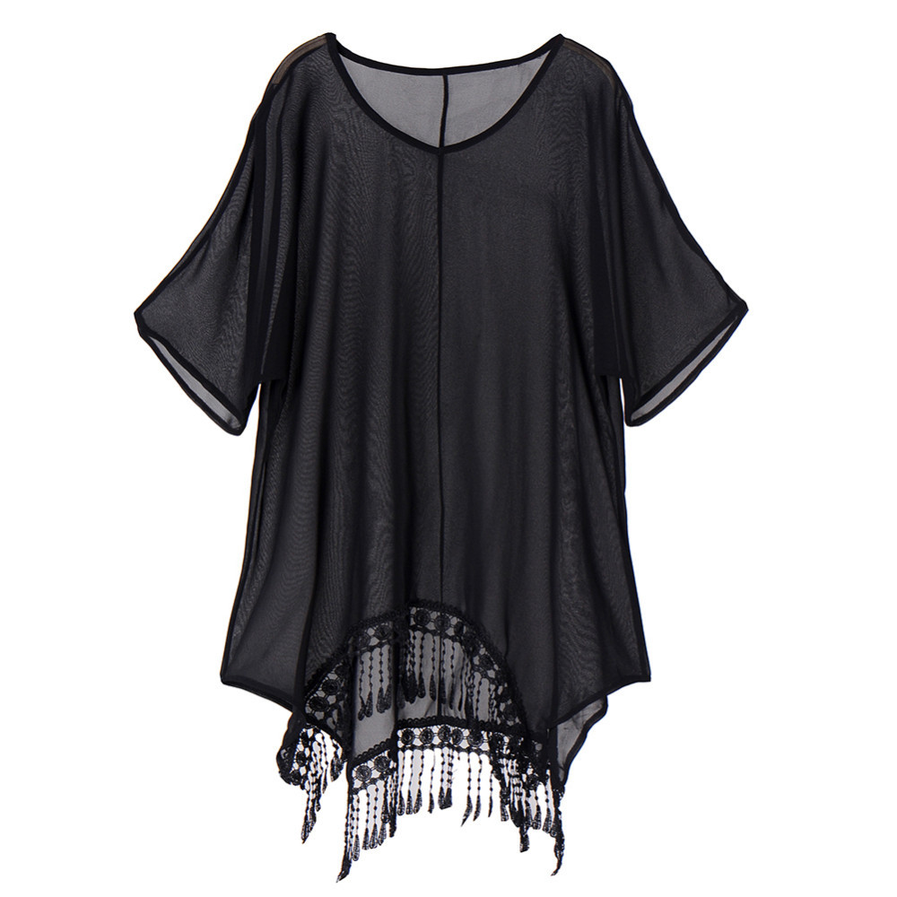 Plus Size 3xl Mini See Through Chiffon Dress For Women Sexy Tassel Crochet Tunic Beach Dress Beach Wear 9