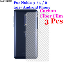 3 Pcs/Lot For Nokia 3 5 6 2017 Android Phone 3D Non-slip Clear Carbon Fiber Back Film Screen Protector Protective Sticker(China)