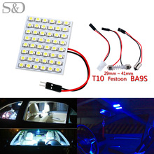 48 SMD Blue,White,Amber Panel led car T10 BA9S Festoon Dome Interior Lamp w5w c5w t4w bulbs Car Light Source parking D020