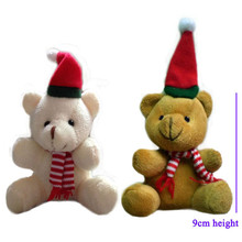 9cm 12pcs/lot Cute Sitting Teddy Bear Plush Toys Small Christmas Bear Soft Stuffed Dolls Gift Xmas Decor
