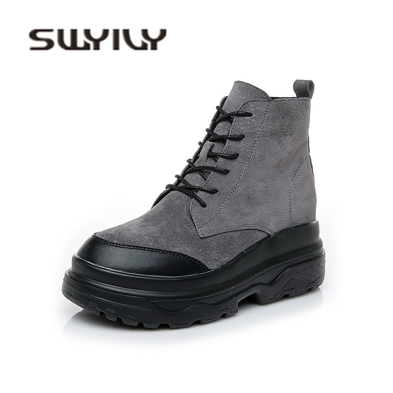 SWYIVY woman genuine leather ankle boots velvet fur warm shoes 2018 autumn winter female snow boots shoes platform high top