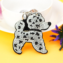 New Car Keychain Dot  Dog Key Chain with Crystal Rhinestone Key Chain Cool gifts Key Women