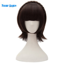 Your Style Short Straight Women BOB Hair Cosplay Wigs With Braid Brown Natural Hair Wigs Bangs Synthetic Heat Resistant Fiber(China)