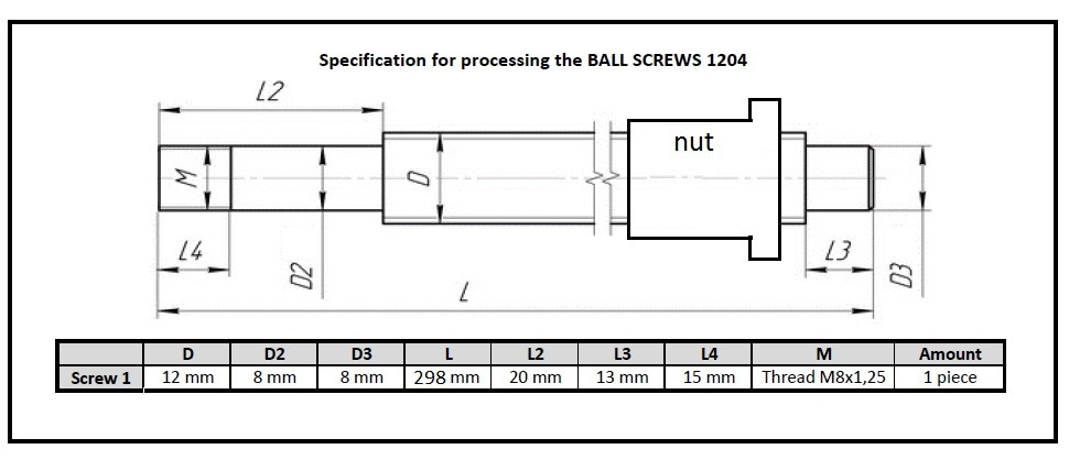 1pc SFU1204 -  298mm ballscrew + 1pc Ballnut  process according to the drawing<br>