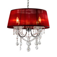 Crystal cloth lamps pendant lights Stylish Living Room Bedroom Cafe pendant lamps Red Yellow Purple Gauze Shade ZA(China)