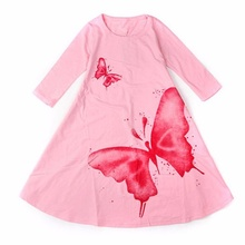 2017 New Girls Dress Spring Autumn Children's clothing cute butterfly long sleeve 2 colors cotton dresses 1pcs hot sale(China)