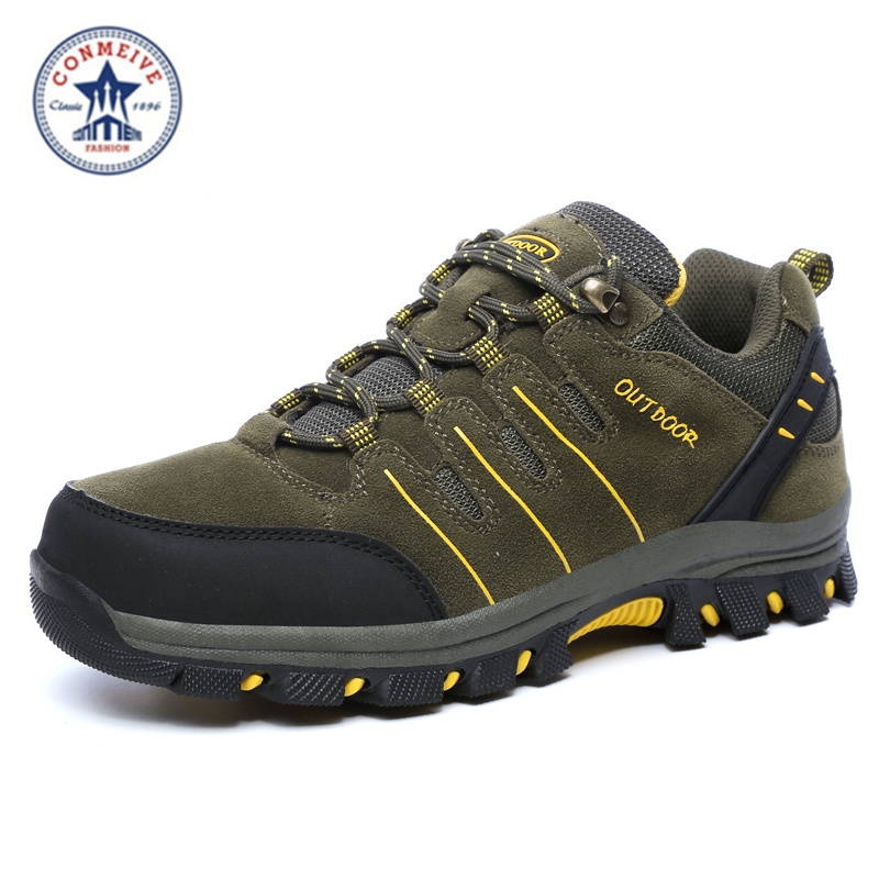 new arrival men hiking shoes light weight outdoor zapatillas deportivas hombre tourism genuine leather trekking  climbing<br>