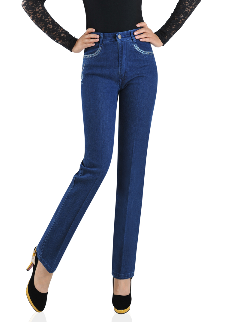 2017 spring autumn cotton Fashion casual plus size female women mother embroidered High waist straight jeans clothing clothes