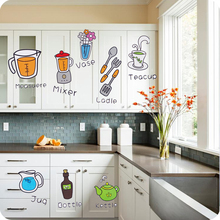 Removable Wall Stickers Creative Kitchen Cartoon Fashion Refrigerator Wall Decoration(China)