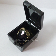 Small black plastic hinged jewelry beads storage box for Rocks Minerals Stones Opals Fossils Gems Rings display case