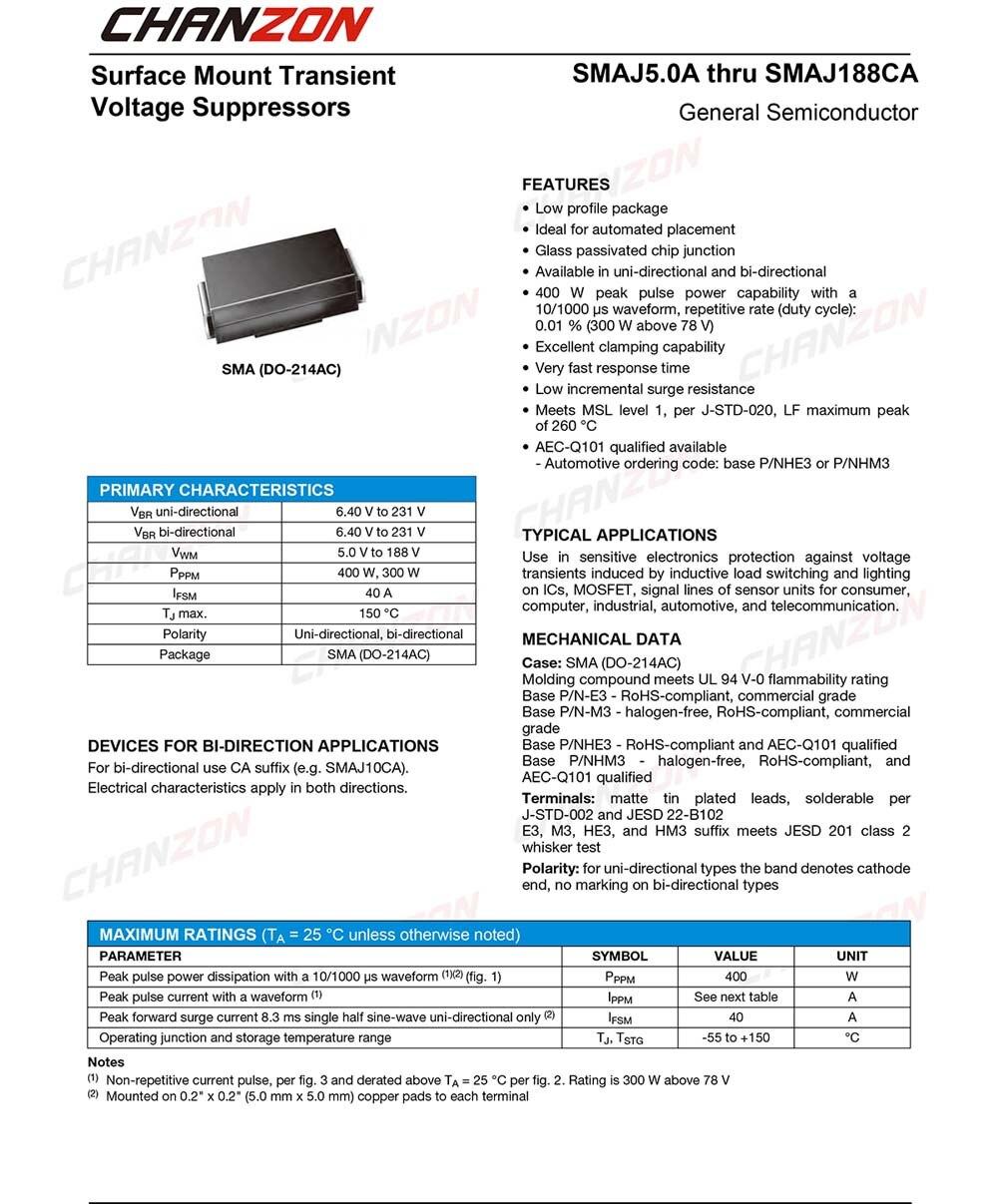 2 Pin SMAJ5.0A 9,2V 7 x TVS Diode NEU DO-214AC 400W