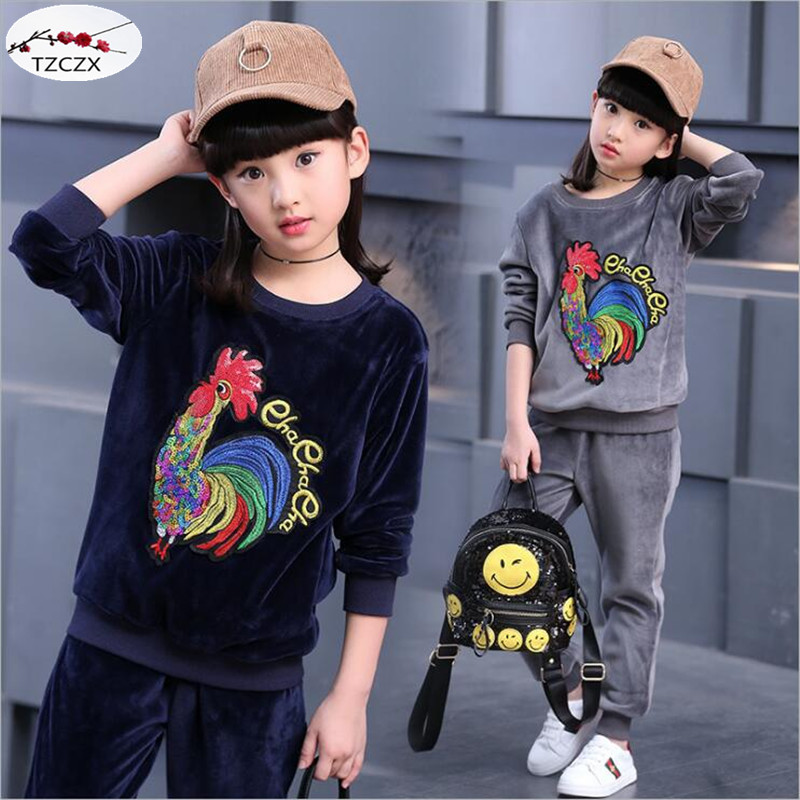 2017 New Fashion Children girls Sets Print Character Cock Setting coat+pant For 4-13 years girl<br><br>Aliexpress