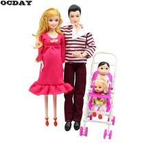 OCDAY 5 People Dolls Suit Doll Family Members Pregnant Mom Dad Baby and 2 Kids Carriage Christmas Gift Doll Toys for Children(China)