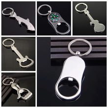 New Shark Shaped Keychain Bottle Opener Key Ring Beer Bottle Opener Shape Silver Original Creative Gift Color(China)