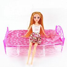 Doll Bed Furniture With Sheet Pillow Girls Birthday Gift  Dolls Dream House For Barbie Doll Accessories House Toys