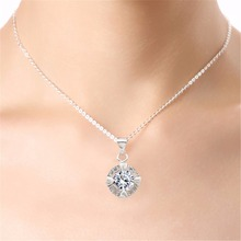 pretty girl 2 years guarantee woman wedding brand silver plated jewelry round crystal rhinestones heart pendant necklace 665