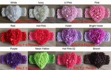 "Free Shipping 100pcs 3"" Valentine's Day Chiffon Rosettes Heart Flower With Elastic Crochet Headband for Girls Hair Accessories,"