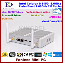 Fanless Mini PC Linux Kingdel NC690 2G ram SSD WIFI celeron N3150 dual core Braswell HD Graphics streaming media players nuc pc