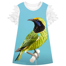 Girl clothing Casual Dress Fashion baby Paper bird Children Designer Kids Clothes Kids Baby Girls party Dress  Summer Style