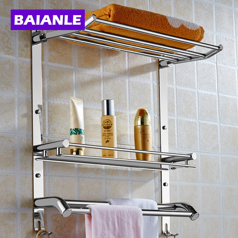 Wall Mount Stainless Steel 2 Layers Storage Basket Shower Room Bathroom Towel Rack Soap Dish Shampoo Rack Bathroom Shelves(China (Mainland))