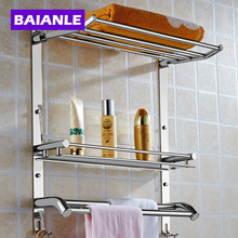 Wall Mount Stainless Steel 2 Layers Storage Basket Shower Room Bathroom Towel Rack Soap Dish Shampoo Rack Bathroom Shelves(China)