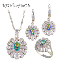 ROLILASON Fashion Jeweler Sets for Women Gift Mystic Zircon Silver Stamped Sets Earring /Necklace/Pendant/ Rings JS678(China)