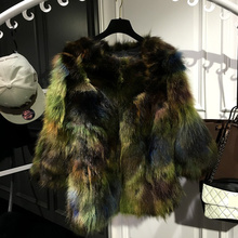 2017 Luxury Spring Autumn Women Natural Genuine Fur Real Raccoon Fur Coat Middle Long  Multi Color Colorful Green Outer Coat