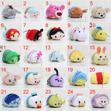 Tsum Tsum mini Plush toy Cinderella stitch toy story plush strap doll phone Screen Cleaner Snow white Mermaid 9cm