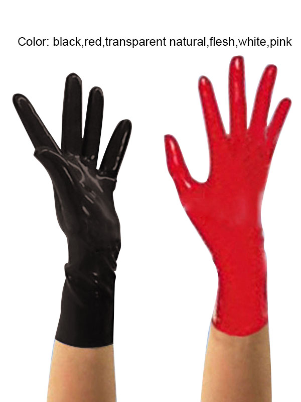 Short-Gloves Latex Rubber Fetish Slim Finger-Style Seamlessly Unisex 3D Extra-0.6mm-Thickness-Available title=