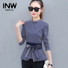 2018 Newest Women's Peplum Tops Blue Striped Blouses Casual Bow Long Sleeve Rayas Shirts For Female Fashion Autumn Blusas(China)