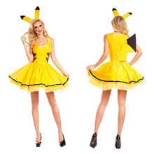Halloween Adult Animals Cosplay Clothing Yellow Pikachu Role-playing Dresses Halloween Masquerade Party Women Genius Cosplay(China)
