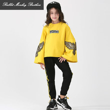 RMBkids Girls spring autumn suits girl Speaker sleeves sweater +Sweat pants two pieces set teens Girl fashion sweater suit(China)
