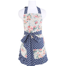 Neoviva Cotton Housewife Apron with Pocket for Kitchen and Garden, Style Kathy, Floral Quarry Bloom