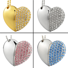 Crystal Heart Shape USB 2.0 Flash Drive 8GB 16GB 32GB 64GB Memory Stick Disk Gadget Personalized Gifts Pens DriverU291(China)