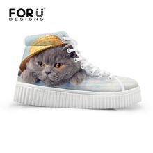 Vintage High-top Women Platform Shoes Cute Cat Printing Women Creepers Shoes Luxury Brand Flat Shoes Lace-up Casual Creeper