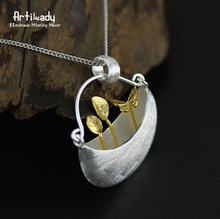 Artilady 925 sterling silver pendant gold palted delicate natural leaf pendant for women jewelry party gift