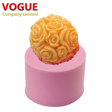 3D Rose Big Flower Ball Candle Mold Soap Mold Silicone Moulds Silicone Flexible Cake decorating tools N3077