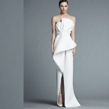 New Arrival Simple Evening Dress White customize High Split Strapless Neck Evening Gowns 2017
